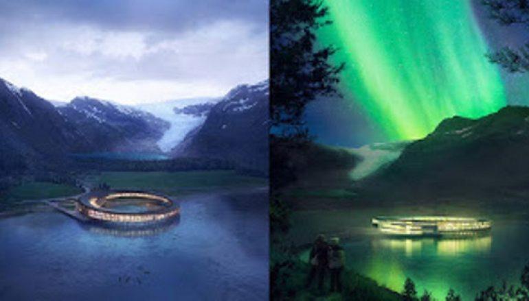 Κυκλικό ξενοδοχείο ανοίγει στη Νορβηγία με θέα τους παγετώνες και το Βόρειο Σέλας